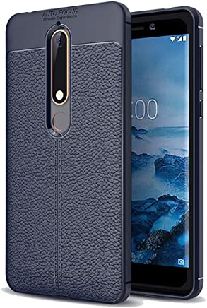 "Golden Sand Nokia 6.1 Case Back Cover Leather Texture Series Shockproof Armor TPU Nokia 6.1 2018 Model Mobile Phone (5.5""), Copper Blue"