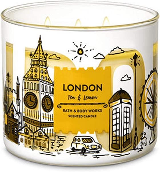 Bath And Body Works White Barn London Lemon And Tea 3 Wick Candle 14 5 Ounce City Scene Label