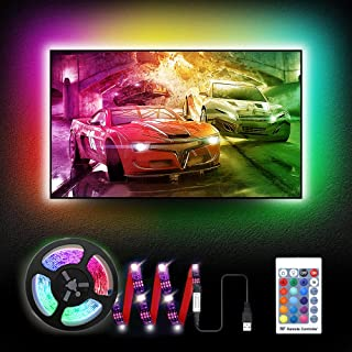 6.6Ft LED TV Backlights, RGB TV Strip Lights kit with Remote, USB Powered Bias Lighting for 40 Inch-75 Inch TV, Home Theat...