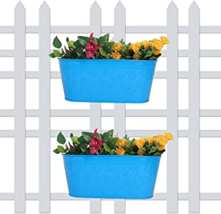 Wonderland (Set of 2) 12 inch Self Embossed Railing planters in Blue for Home, Garden, Balcony Decor, Decoration, Garden pots and planters