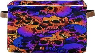 Tropicallife F17 Panier de rangement en toile pliable avec poignée Motif tête de mort Style rétro vintage