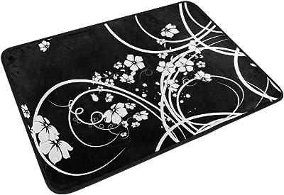 Mydaily Flower Black White Swirls Doormat 15.7 x 23.6, Living Room Bedroom Kitchen Bathroom Decorative Lightweight Foam Printed Rug