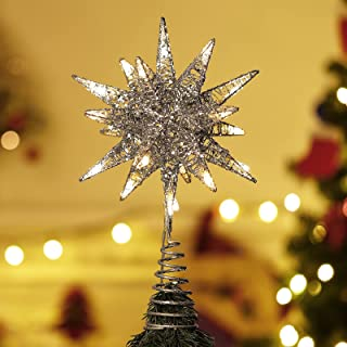 Lewondr Star Tree Topper, Battery Powered 3D Geometric Star Decorative LED Lights Beautiful Star Lighting with Springy Bas...