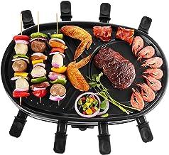 NHJUIJ Appareil à raclette électrique Plug & Share 1500 W avec plaque de cuisson antiadhésive pour jusqu'à 8 personnes - N...