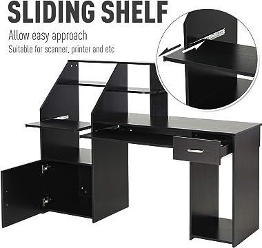HOMCOM Computer Desk with Sliding Keyboard & Storage Shelves, Cabinet and Drawer, Home Office Gaming Table Workstation, B
