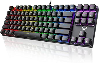 PICTEK TKL Mechanical Gaming Keyboard, Compact 87 Key Mechanical Computer Keyboard with Blue Equivalent Switches, 27 LED Lighting Modes, 100% Anti-Ghosting Wired USB Keyboard for Windows PC/MAC Games