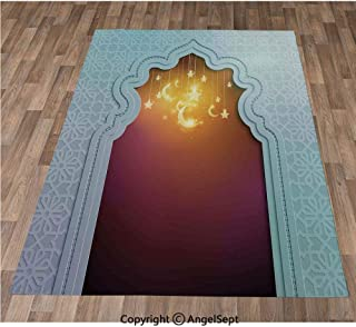 Non-Slip Super Soft Rugs Cozy Kids Bedroom Living Room Carpet 40x63in,Mosque Door with Star and Moon Art Arabic Words Ramadan Design Decorative,Pale Blue Maroon Apricot Indoor/Outdoor Area Runners &