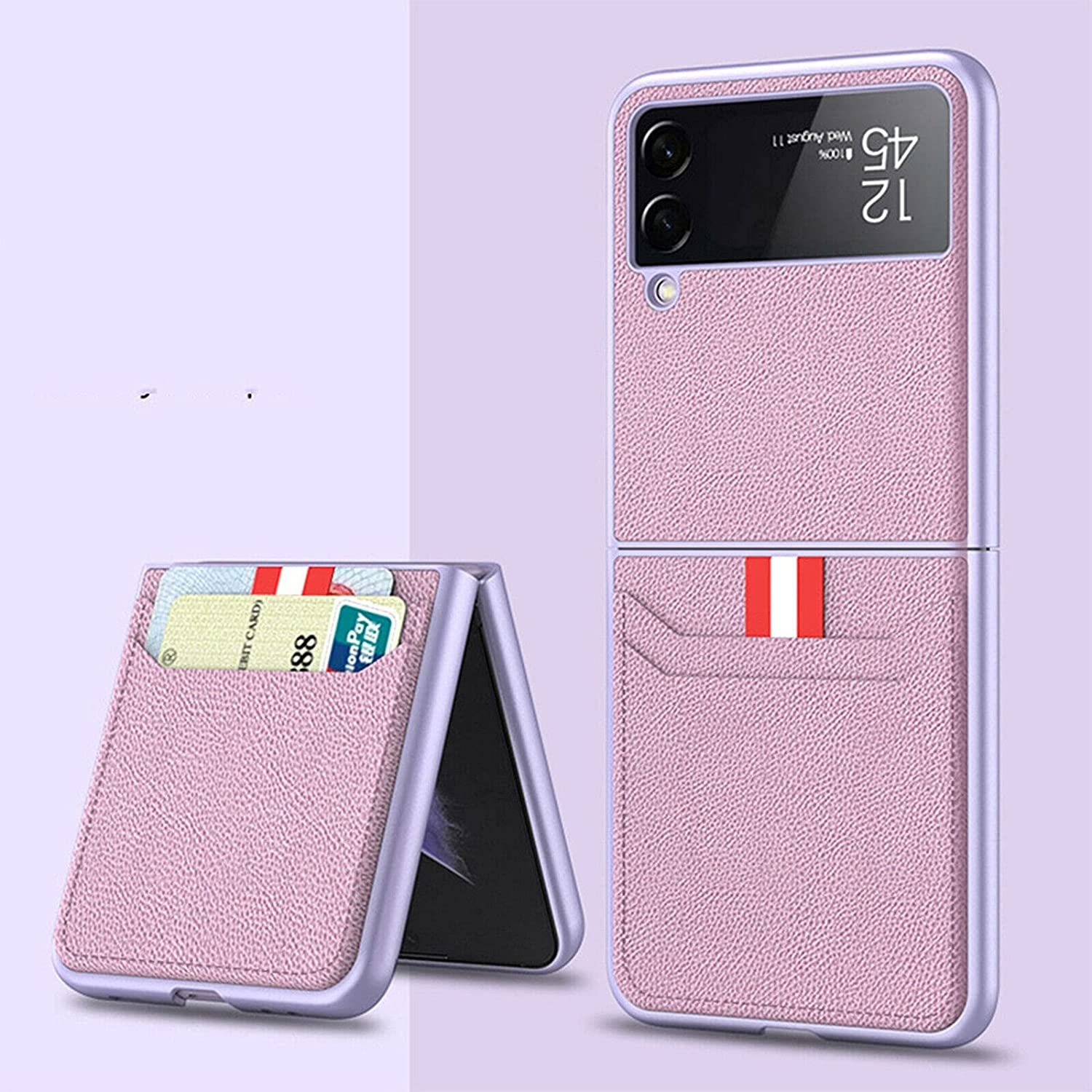 Leather Wallet Card Holder Phone Case for Samsung Galaxy Z Flip 3 5G, Leather Lightweight Cover Full Protective Cases with Wallet Card