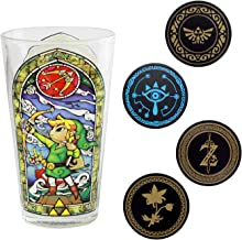 Paladone The Legend of Zelda - Metal Drink Coasters and Collector's Edition Link Glass Tumbler