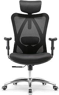 SIHOO Ergonomisk skrivbordsstol, vridbar stol med justerbart ländryggsstöd, nackstöd och armstöd, höjdjustering och vippfu...