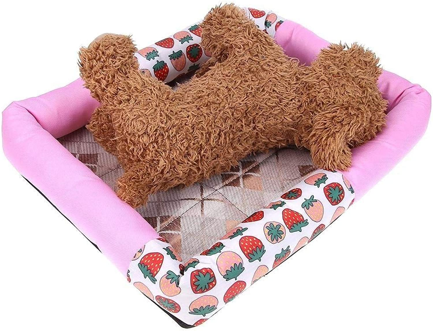 YQSMYSW Waterproof Pet Dog Bed Puppy House Kennel Cat Nest Mat Pink S for Cat Dog