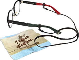 Peeper Keepers Eyeglass Retainer| Leather Sunglass Holder | Brown, 6pk | w/Microfiber Cloth