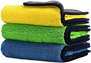 Car Drying Towel, Honmay Lint - Free Microfiber Cleaning Cloth, Premium Professional Soft Microfiber Towel, Super Absorbent Detailing Towel for Car/Windows/Screen/Kitchen, 12Inch x 16Inch (Pack of 3)