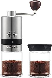 SILBERTHAL Molinillo de café manual | Molinillo de café profesional de mano acero inoxidable y vidrio | Moledor cafe manual regulable | Molinillo de cafe portatil | Coffe grinder
