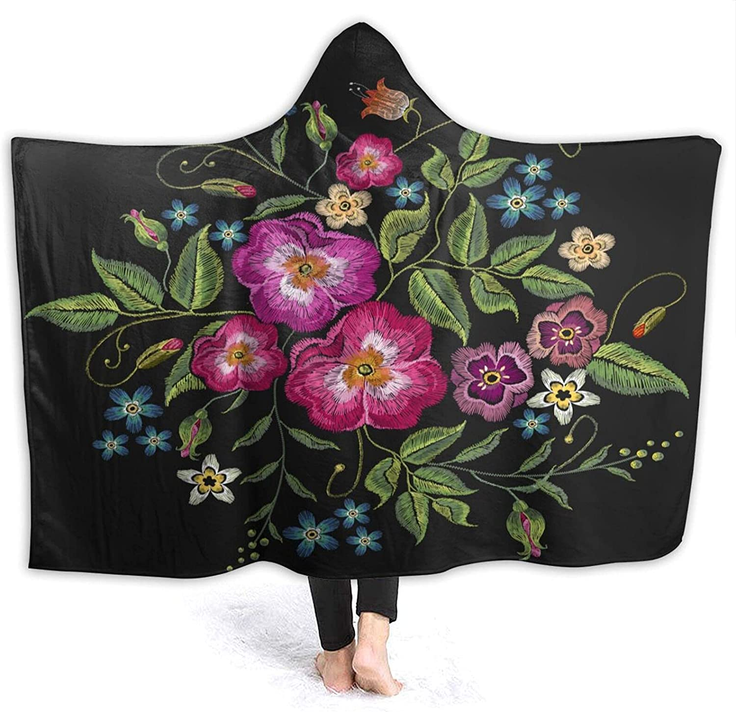 Hooded Max 59% OFF Blanket Surprise price Colorful Trend Floral Hood Pattern with Butterfly