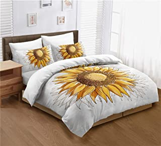 Sunflower Duvet Cover Set Queen Size, Yellow Sunflowers Painting Effect and in Minimalistic Design Artwork, Decorative 3 Piece Bedding Set with 2 Pillow Cases, Modern Style for Men and Women