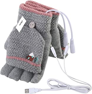 Offeree USB Heated Gloves Mitten for Women Men full and half hands warm laptop gloves with double-sided heating for indoor or outdoor winter usb powered knitting hands warmer (Women Grey)