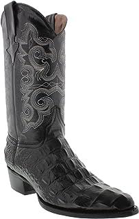 4891a144cda Hand Made Men s Crocodile Alligator Back Leather Cowboy Western J Toe Boots  Black