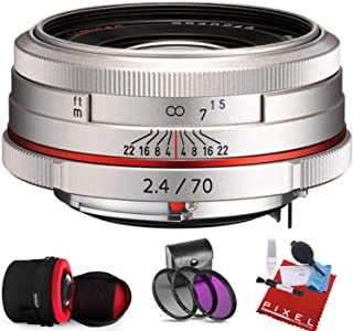 Pentax HD Pentax DA 70mm f/2.4 Limited Lens (Silver) with Heavy Duty Lens Case and Pro Filter Kit
