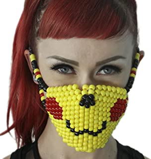 Kandi Gear Mascara Kandi de Pikachu Pokemon, mascara rave, mascara de halloween, mascara de cuentas, mascara para festivales de musica electronica y fiestas