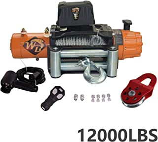 VioletLisa Universal Steel Rope 12000LB 12V 158/1 Gear RatioElectric Recovery Winch Wireless Remote Control 4-Way Roller Fairlead for Pickup Truck 4WD JEEP SUV Van Train Boat Trailer