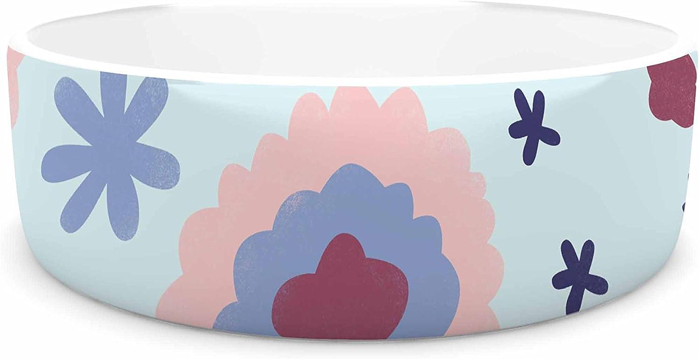 KESS InHouse Alik Arzoumanian Morning Flowers  Pink bluee Pet Bowl, 7