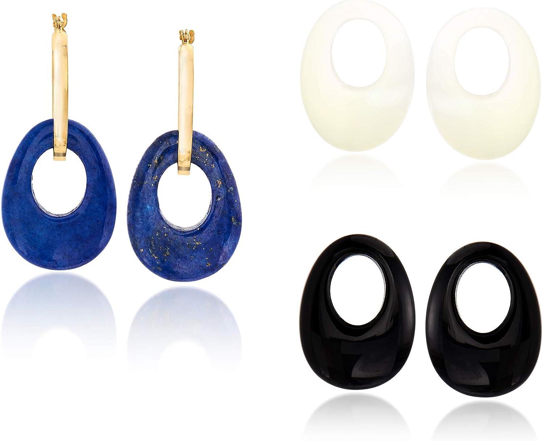 Ross-Simons 20x15mm Multi-Gemstone Open-Oval Interchangeable Hoop Earrings in 14kt Yellow Gold