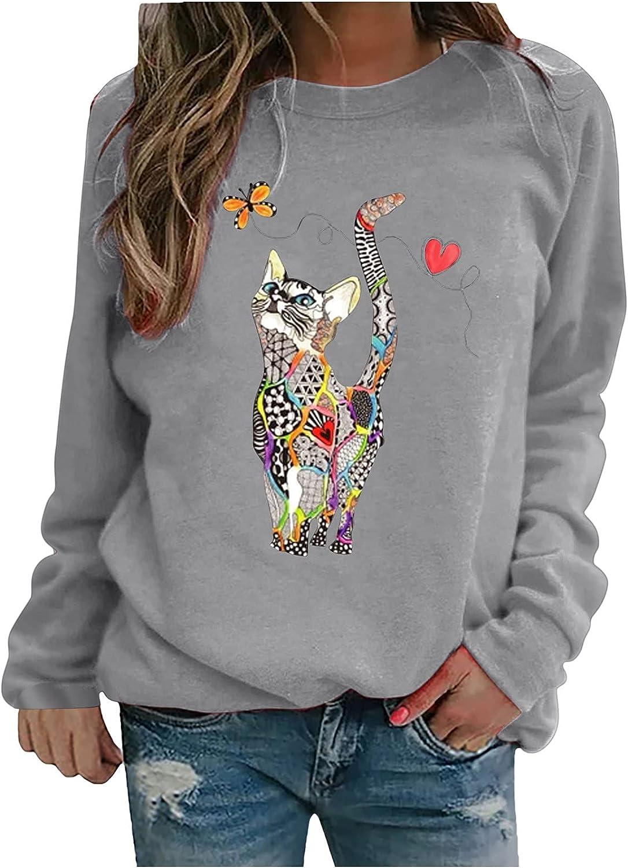Women Sweatshirt, Casual Loose Fit Pullover Cute Cat Print Tunic Tops Crewneck Shirt Lightweight Workout Sport Blouse