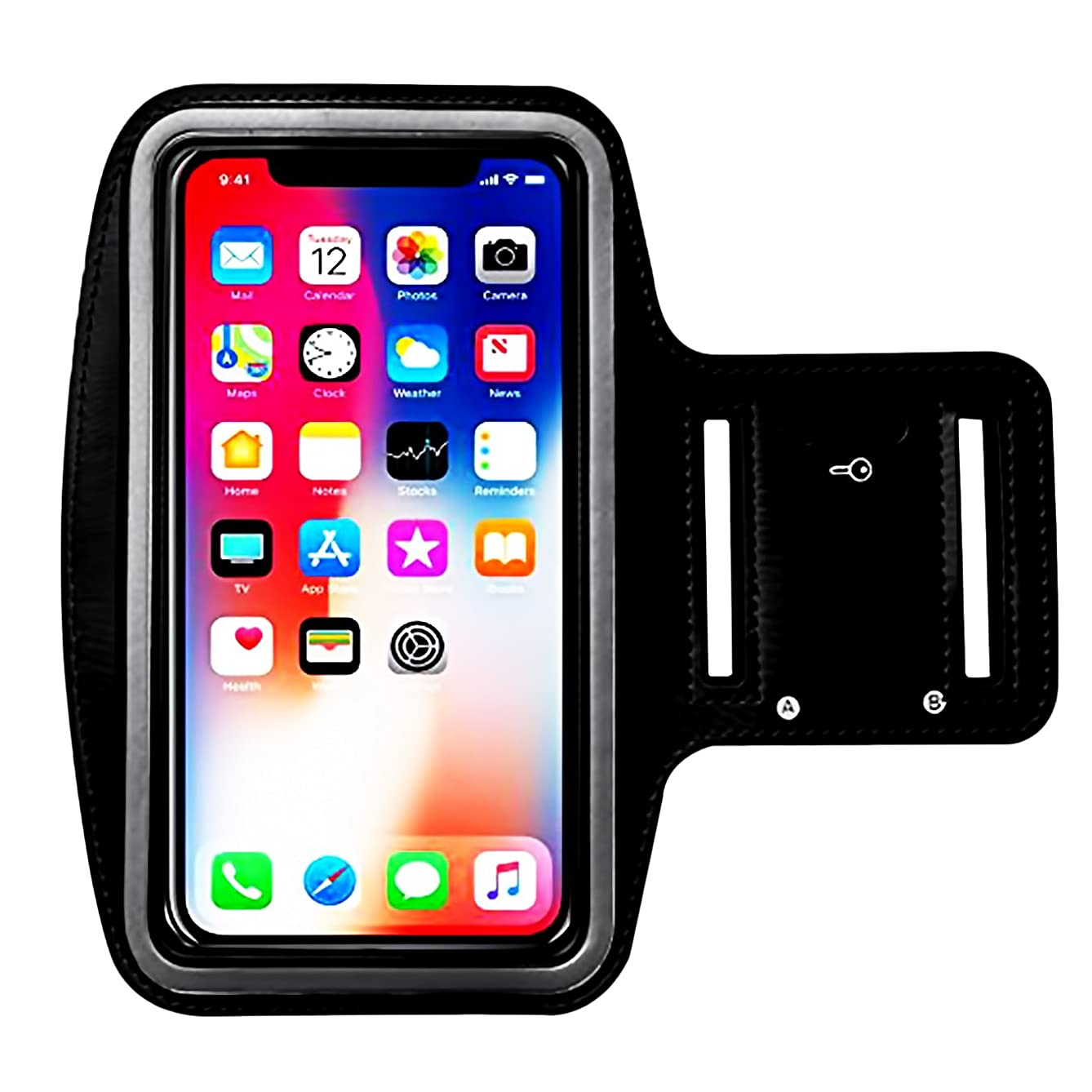 Water Resistant Sports Armband,iEugen Universal up to 5.5 Inch with Key Holder for iPhone X,8 Plus, 7 Plus, 6 Plus, 6S Plus (5.5-Inch), Galaxy S9/S8/S6/S5, S9 Plus, S8 Plus, Note 4 -black