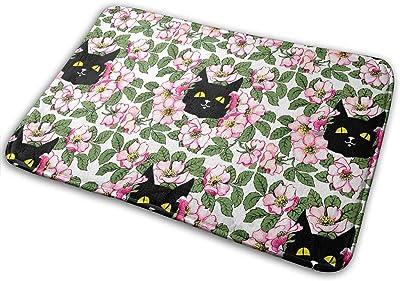 Smiling Black Cats Carpet Non-Slip Welcome Front Doormat Entryway Carpet Washable Outdoor Indoor Mat Room Rug 15.7 X 23.6 inch