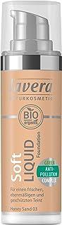 lavera Soft Liquid Foundation -Honey Sand 03- Base de maquillaje ∙ Fórmula líquida ∙ Natural tono de piel ∙ Vegan ✔ Cosmét...