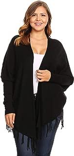 C.O.C. Curve Womens Plus Size Rib Knit Long Body Cardigan Black - 1X