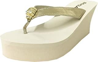 67696405dd65 SODA Skull Women s Crystal Embellished Skull Flip Flop Platform Wedge Sandal  in Light Gold