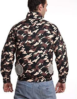 Summer Cooling Air-Conditioning Clothing, USB Charging with Fan Cooling Clothing Outdoor Mountaineering Fishing Cool Fan Sun Protection Clothing,Camouflage,2XL/3XL