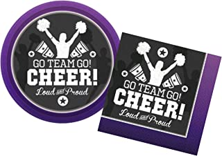 Cheerleading Party Supplies for 16 People - Bundle Includes Paper Dessert Plates & Napkins