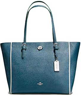 Coach Handbag Pebble Leather Bag Turnlock tote mineral #38323 New