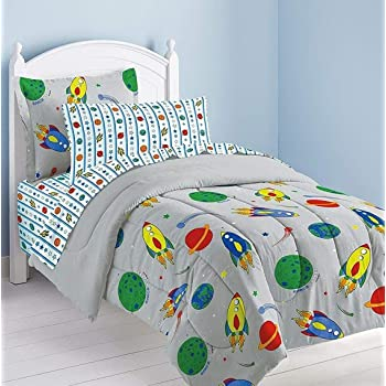 dream FACTORY Space Rocket Ultra Soft Microfiber Comforter Set, Multi-Colored, Twin