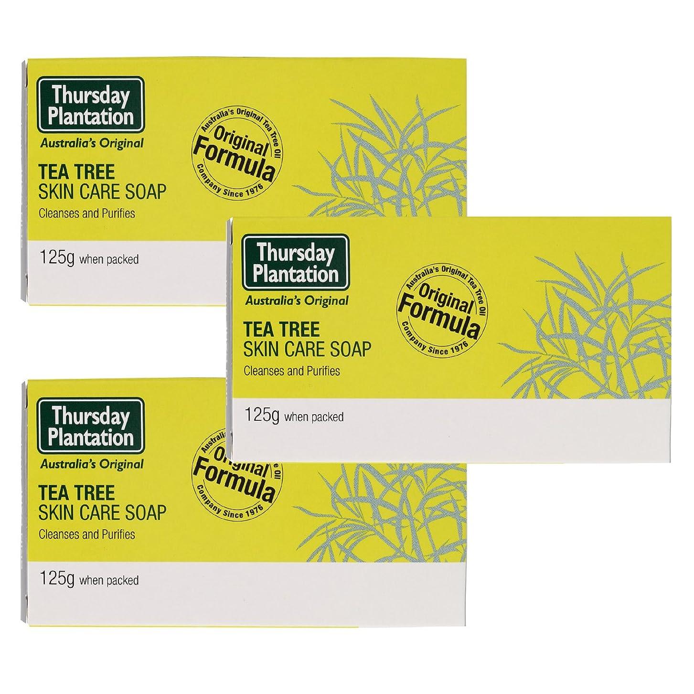 礼拝夢中処理ティーツリー スキンケア ソープ 125g x3 Thursday Plantation Tea Tree Skin Care Soap [並行輸入品]