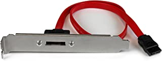 StarTech.com 18in 1 Port SATA to eSATA Plate Adapter - External SATA Plate - 6Gbps eSATA Port - Internal SATA to eSATA Adapter - 18 inch (ESATAPLT18IN), Red
