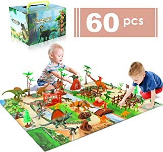 baccow 60pcs Kids Dinosaur Toys for Age 3 4 5 6 7 8 9yr Year Old Boys Girls, Educational Big Toy Dinosaurs Playsets/Figures on Activity Thick Dino Mat, Tech Learning T Rex Dinosaur Toddler Gifts