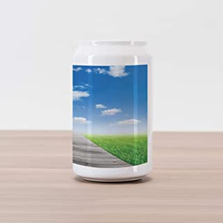 Ambesonne Country Cola Can Shape Piggy Bank, Pathway Towards Meadow Rural Countryside Miracle Supernatural Sky with Clouds, Ceramic Cola Shaped Coin Box Money Bank for Cash Saving, Blue Green Brown