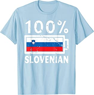 Slovenia Flag T-Shirt | 100% Slovenian Battery Power Tee