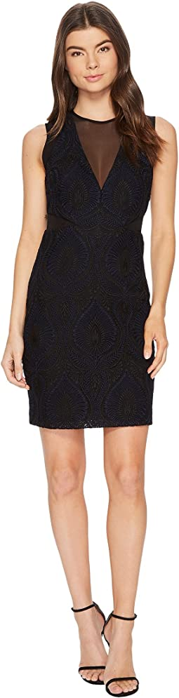 Nicole Miller - Petal Lace Mesh V-Neck Dress
