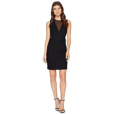 Nicole Miller Petal Lace Mesh V-Neck Dress (Black/Navy) Women