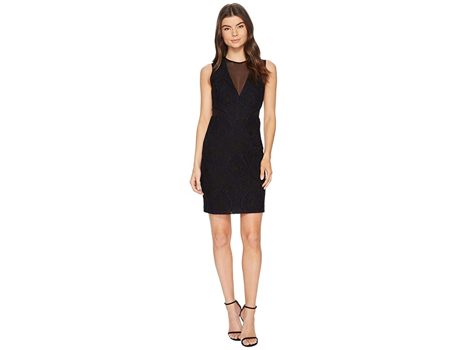 Nicole Miller Petal Lace Mesh V-Neck Dress (Black/Navy) Women