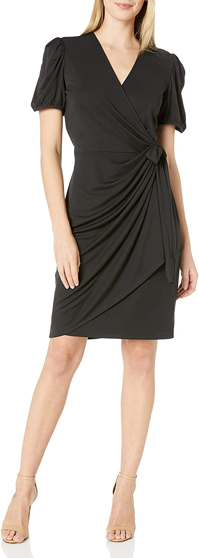 Lark & Ro Women's Standard Gathered Puff Sleeve Wrap Dress
