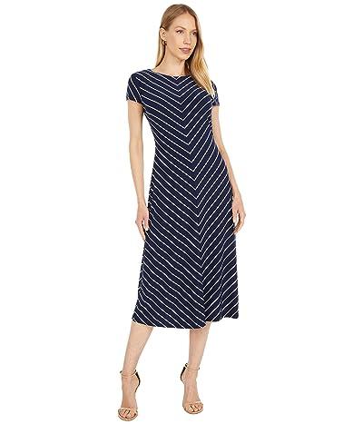 LAUREN Ralph Lauren Chevron Cap-Sleeve Jersey Dress
