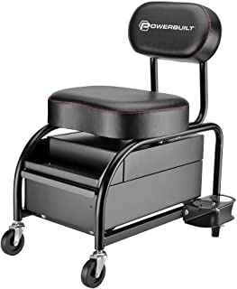 Powerbuilt Professional Car Detailers Mechanics Roller Seat, Heavy Duty Garage Stool with Thick...
