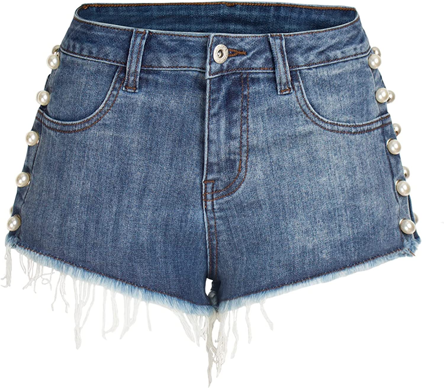 Qinvern Women's Booty Denim Shorts Pearl Rivet Butt Lifting Ripped Washed Distressed