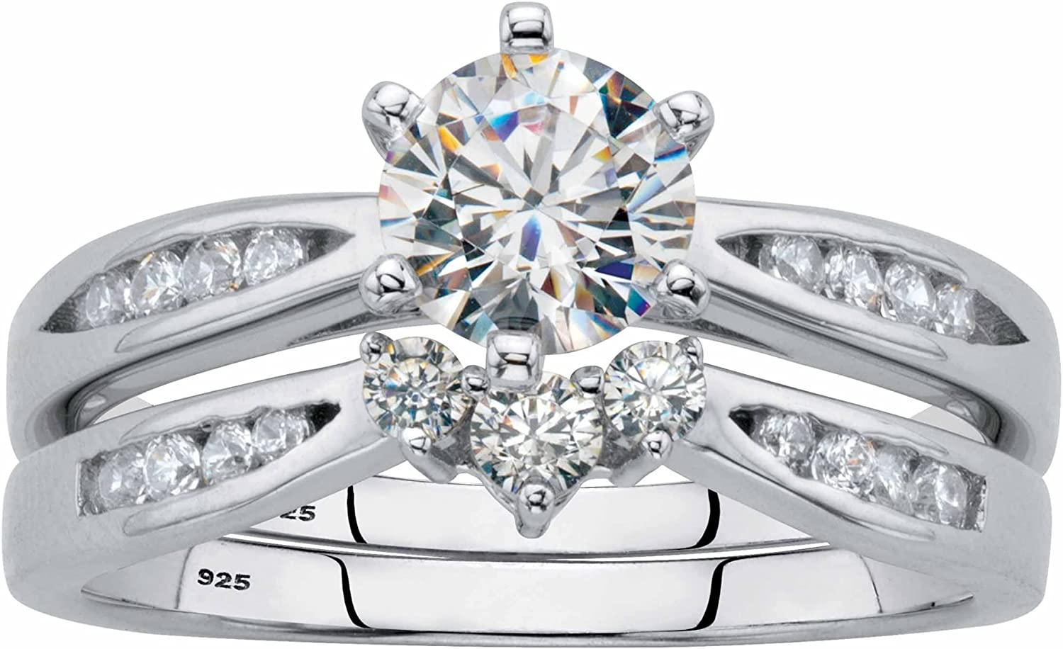 Sterling Many popular brands Silver Round Cubic Zirconia Channel shipfree Ring Set Bridal